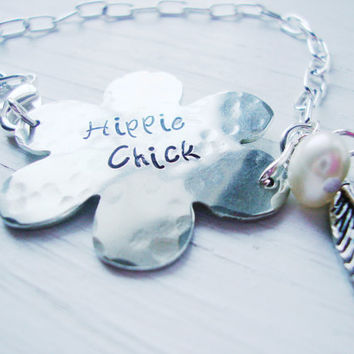 Hippie chick silver charm bracelet hand stamped by Lolasjewels