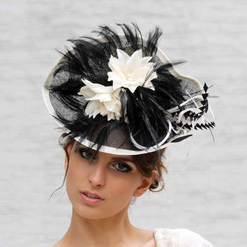 OOAK Black Cocktail Wedding Facsinator, Haute Couture, Ascot Derby cup hat with cream flowers and trimming
