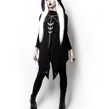 Witchy Moon Witchcraft Spells oversized Hood asymmetrical Hoodie Jacket - Moon Sheer