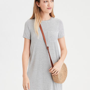 AE Knit Swing T-Shirt Dress, Cream