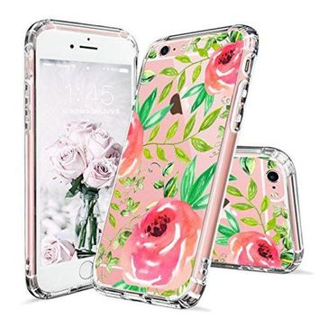 DCCKV2S iPhone 6 Case, iPhone 6s Clear Case, MOSNOVO Red Roses Floral Flower Printed Clear Design Transparent Plastic Hard Back Case with Soft TPU Bumper Gel Protective Case Cover for iPhone 6 6s (4.7 Inch)