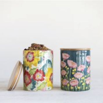 Floral Canister with Bamboo Lid | Multiple Styles
