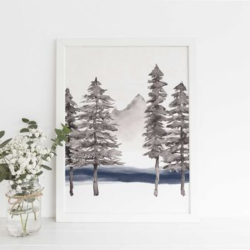 Modern Scandinavian Forest Pine Tree Painting Wall Art Print