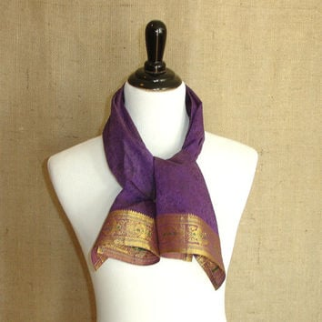 Purple Scarf: Upcycled Indian Sari Scarf with Gold Zari Border, Women's Floral Fashion Scarf in Eggplant, from India