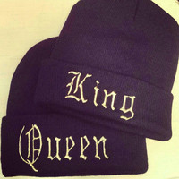 King or Queen black embroidered beanie