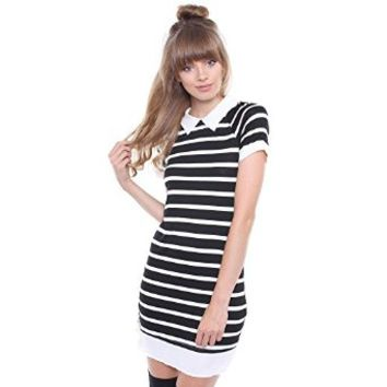 Junior's Black & White Peter Pan Collar Striped Dress 57605