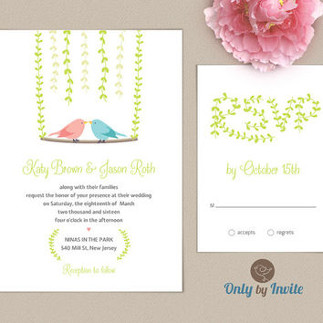 Love bird wedding invitation and RSVP card Set Personalized | Rustic spring summer woodsy forest wedding Invitation | FREE Shipping