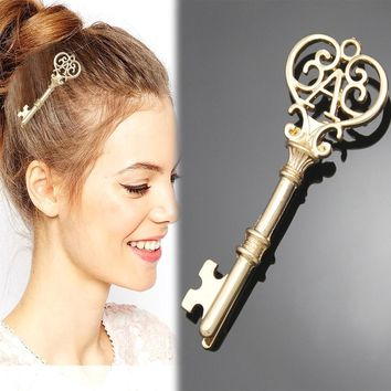 NEW Gold Silver Victorian Filigree Skeleton Key Alice In Wonderland Updo Hair Dress Pin Clip Special Sweet Jewelry 2018 New