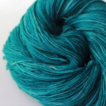 Turquoise - Sparkle Fingering/Sock Hand-Dyed Yarn - 463 yds / 100g