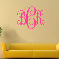Monogram Wall Decal, Personalized Wall Decal sticker, Initials Wall Decal - Custom  Wall Decal  Monogram sticker, Kid  Baby Name Decal-3726
