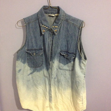 Dipdyed denim vest by CrewOnly on Etsy