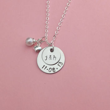 Couples Necklace hand stamped with initials and date - personalized disc necklace - personalized pendant with pearl and heart charm