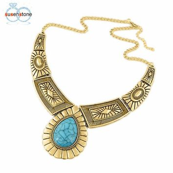 Women Vintage Necklace Alloy Gold Sliver Metal Link Chain Bib Jewelry Gift