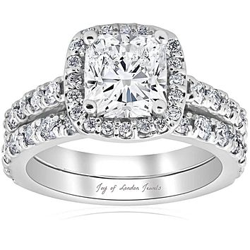 14K White Gold Ethically Mined Ekati 1.5CT Cushion Cut Halo Bridal Set