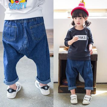 Spring Summer Infant Baby Boys & Girls Jeans Baby Long Harem Pants Kids Pants Fashion Casual Baby Trousers Kids Clothing BKZ03