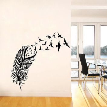 Wall Decal Vinyl Sticker Decals Art Home Decor Design Mural Feather Birds Nib Style Feather Peacock Living Room Modern Fashion Bedroom AN142