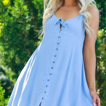 Tie Button Tank Dress Pale Blue