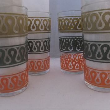 Vintage Drinking Glasses - Drinking Tumblers, Retro Kitchen, Salmon Gray and mustard gold, Set of 4, Mid Century