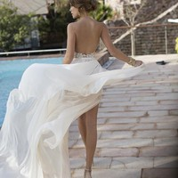 Discount 2019 New Sexy Backless Summer Beach Wedding Dresses Halter Beaded Crystal Chiffon Lace Side Split Julie Vino Bridal Gowns Dresses Best Wedding Dresses Online Simple Classic Wedding Dresses From Hxhdress, $124.83| DHgate.Com