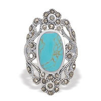 Simulated Turquoise and Marcasite Ring