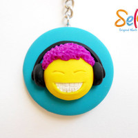 Happiness is listening to music - Yellow smiley face is listening to music - Handmade key chain for music lovers - Polymer clay smiley face
