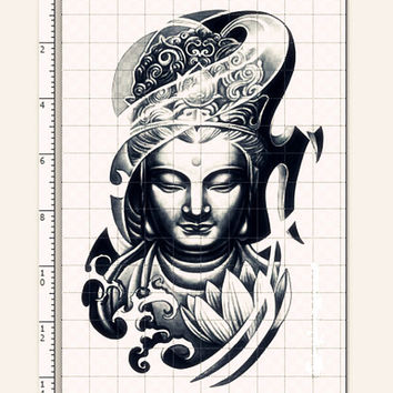 1pc Buddism godness Guanyin temporary tattoo ***  fake tattoo body art large tattoo big tattoo