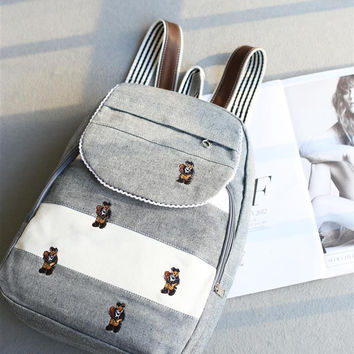 Backpack Korean Canvas Travel Bags [4915788676]
