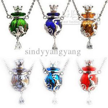 Perfume murano glass bottles necklaces Fashion CZ zircon Rhinestone Italian venetian Lampwork pendant