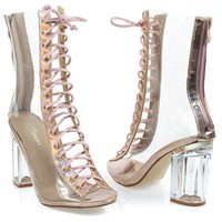 clear45 Rose Gold By Forever, Ankle clear peep toe lace up boots Perspex Plexiglas block heel