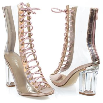 clear45 Rose Gold By Forever Link, Ankle clear peep toe lace up boots Perspex Plexiglas block heel