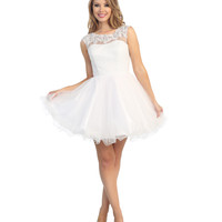 Off White Sequin & Tulle Cap Sleeve Dress 2015 Prom Dresses
