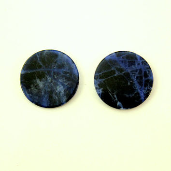 Natural Sodalite Stone 18 mm Magnetic Non Pierced Clip On Earrings With Free Pair Of Extra Backs