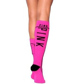 Victoria Secret Pink Knee High Socks Hot Pink