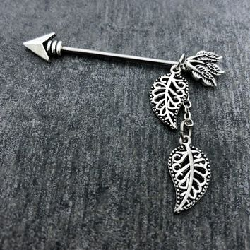 Tribal, Native American, Arrow Feather Industrial/Scaffold barbell 14 gauge stainless steel body jewelry