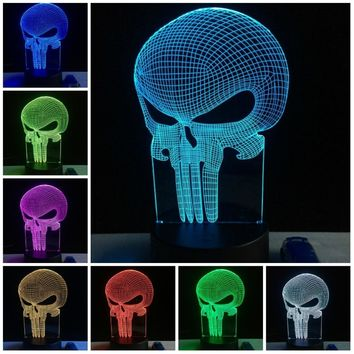 Skull 3D Lamplight LED USB Mood Night Light Multicolor Table Lamp