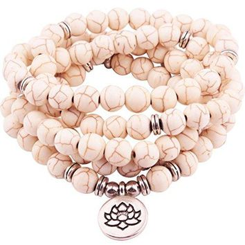 GVUSMIL 8mm Mala Amazonite 108 Beads Necklace for Yoga Buddhist Rosary Prayer Charm Bracelet made by Natural Gemstone Agate Jade for Women Men