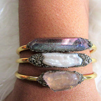 Crystal Jewelry, Natural Crystal Jewelry, Healing Crystal Jewelry, Bridesmaid Gift, Raw Crystal Bracelet, Raw Stone Bracelet
