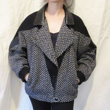 80s Slouchy Herringbone Wool Pleather Geometric Applique New Wave Working Girl Jacket