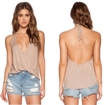 Sexy Women Summer V Neck Sleeveless Loose Casual Shirt Backless Tank Tops Vest Blouse = 5658681537