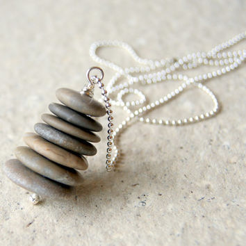 Beach Stone Cairn Necklace - stacked stones - Cairn Jewelry - Nautical Fashion - Rustic Jewelry - boho fashion