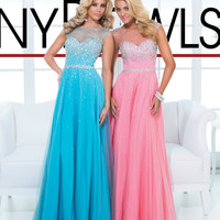 (PRE-ORDER) Tony Bowls 2014 Prom Dresses - Coral Rhinestone Open Back Prom Dress
