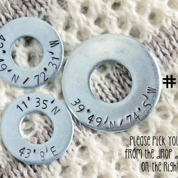 Custom Metal Stamped Washer - Latitude / Longitude - Long Distance Relationship / Military / Deployment