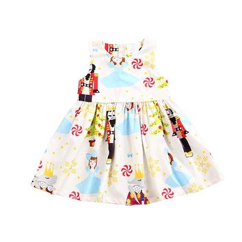 2017 Halloween Girls Dress Sleeveless Princess Print Party Dresses Toddler Kids Baby Girl Clothes Tutu Festival Vestidos Outfits