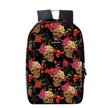 Good Quality 16 Inch Floral Skull Bag Backpack School for Teenager Girl Laptop Bag Boys Printing Backpack Women Backpack