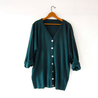vintage oversized cardigan sweater. dark green button up shirt. slouchy cardigan. seashell buttons.