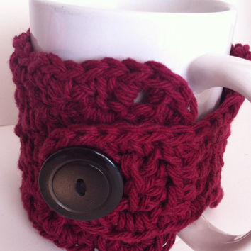 On Sale Crochet Coffee Cozy Cup Burgundy Wine Eco Friendly Christmas