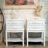 Painted Cottage Shabby White Pair of  French Night Tables NT483