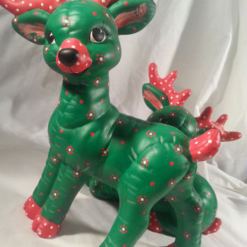 Reindeer Ceramic Figurines Set of Two