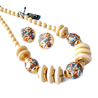 Cream and Floral Necklace and Earrings Set Signed Pastelli with Original Tags