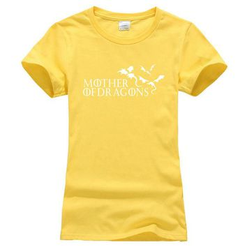 """Yellow and White """"Mother of Dragons"""" Women's Game of Thrones cotton T-shirt"""